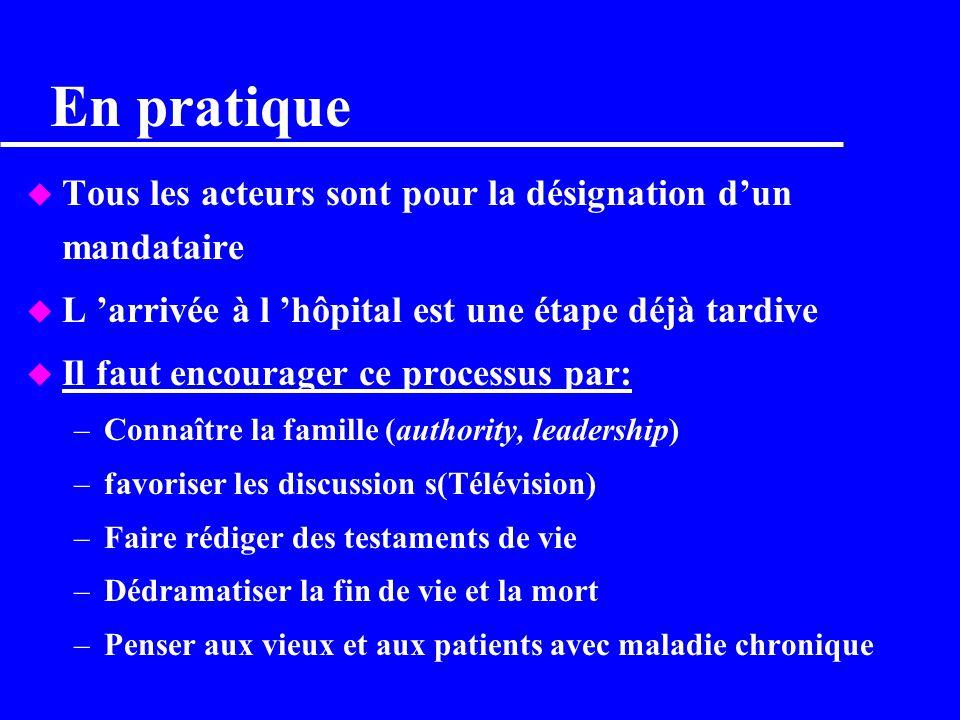 Points à souligner lors de l enseignement u Lintensité des soins dicte l emploi de la technologie: –respecter les volontés du patient –Savoir arrêter.