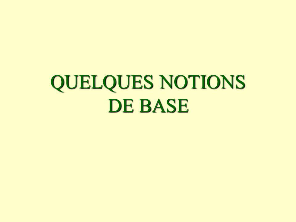 QUELQUES NOTIONS DE BASE