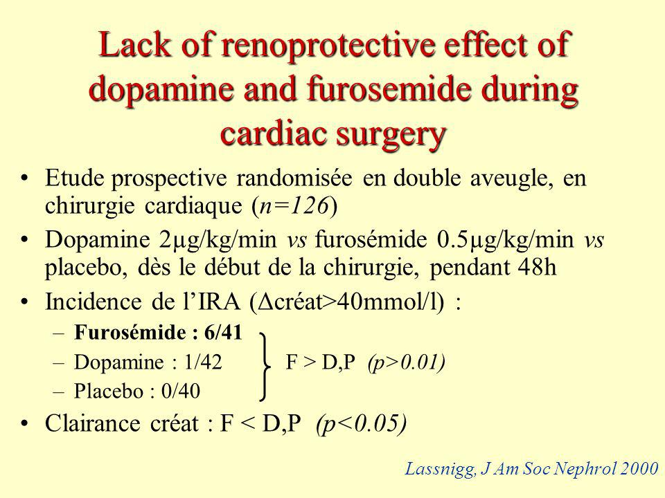 Lack of renoprotective effect of dopamine and furosemide during cardiac surgery Etude prospective randomisée en double aveugle, en chirurgie cardiaque