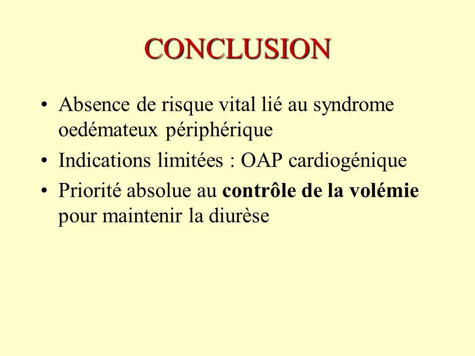 CONCLUSION Absence de risque vital lié au syndrome oedémateux périphérique Indications limitées : OAP cardiogénique Priorité absolue au contrôle de la volémie pour maintenir la diurèse