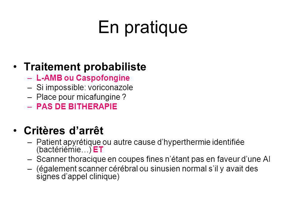 Traitement probabiliste –L-AMB ou Caspofongine –Si impossible: voriconazole –Place pour micafungine ? –PAS DE BITHERAPIE Critères darrêt –Patient apyr