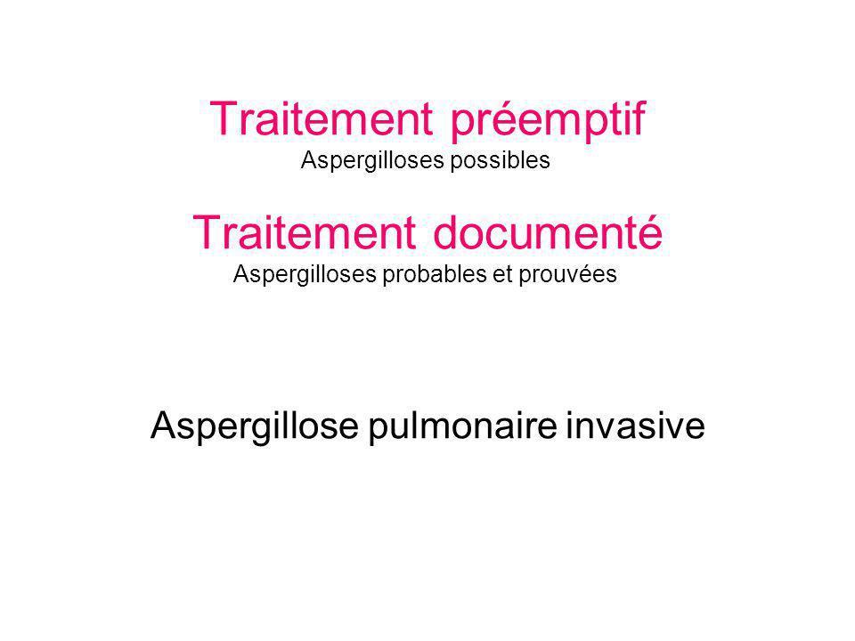Traitement préemptif Aspergilloses possibles Traitement documenté Aspergilloses probables et prouvées Aspergillose pulmonaire invasive
