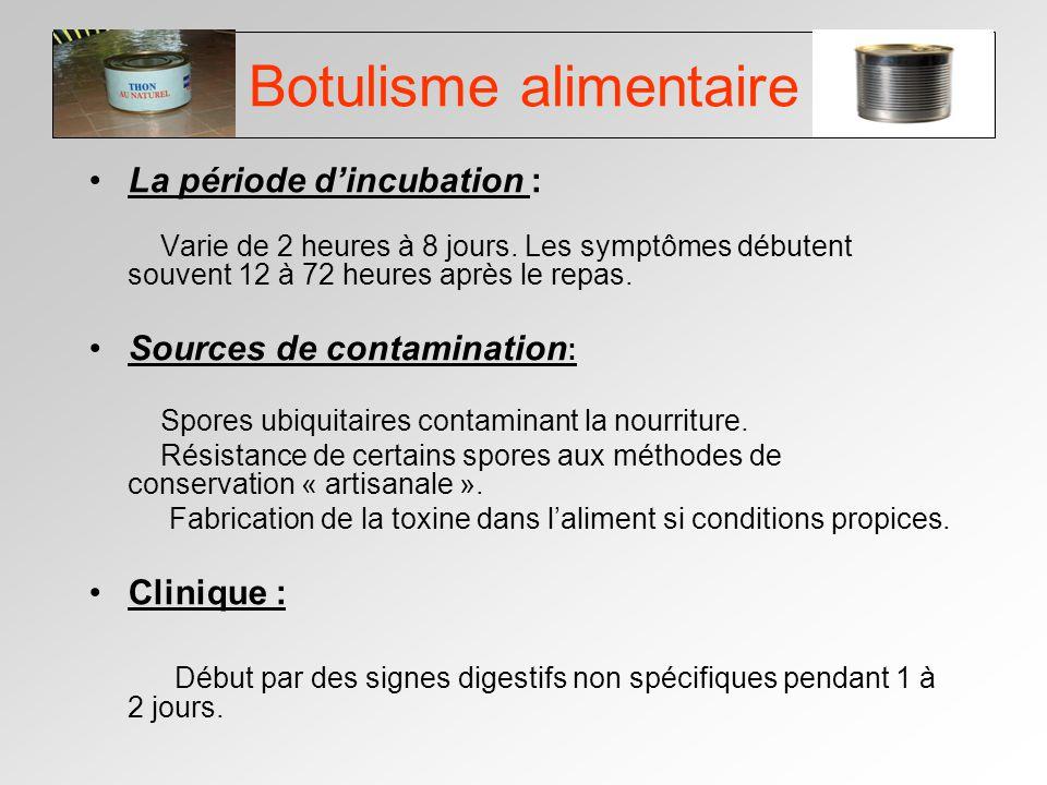 Botulisme alimentaire La période dincubation : Varie de 2 heures à 8 jours.