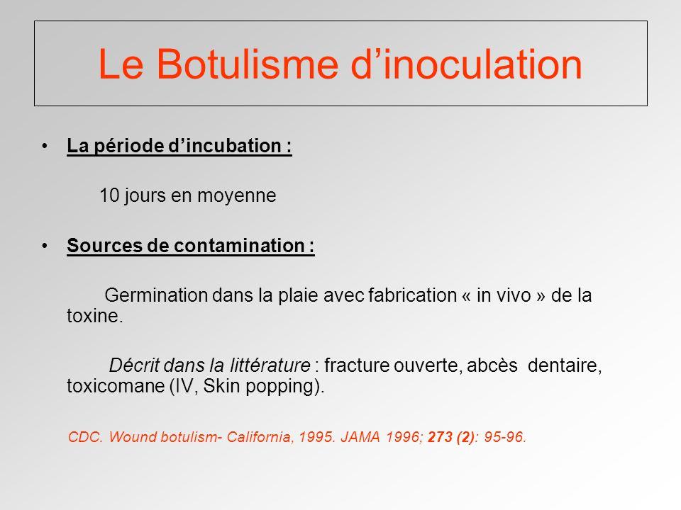 Le Botulisme dinoculation La période dincubation : 10 jours en moyenne Sources de contamination : Germination dans la plaie avec fabrication « in vivo » de la toxine.