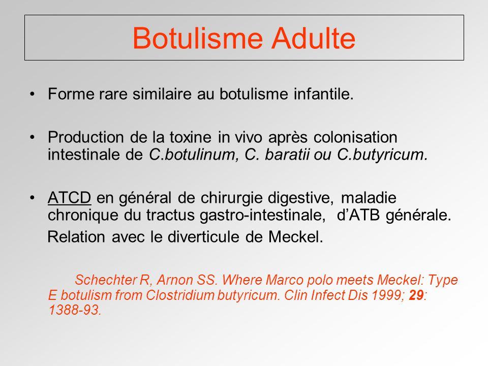 Botulisme Adulte Forme rare similaire au botulisme infantile.