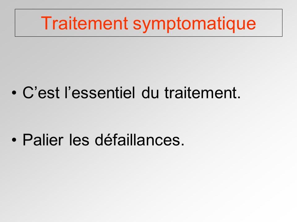 Traitement symptomatique Cest lessentiel du traitement. Palier les défaillances.