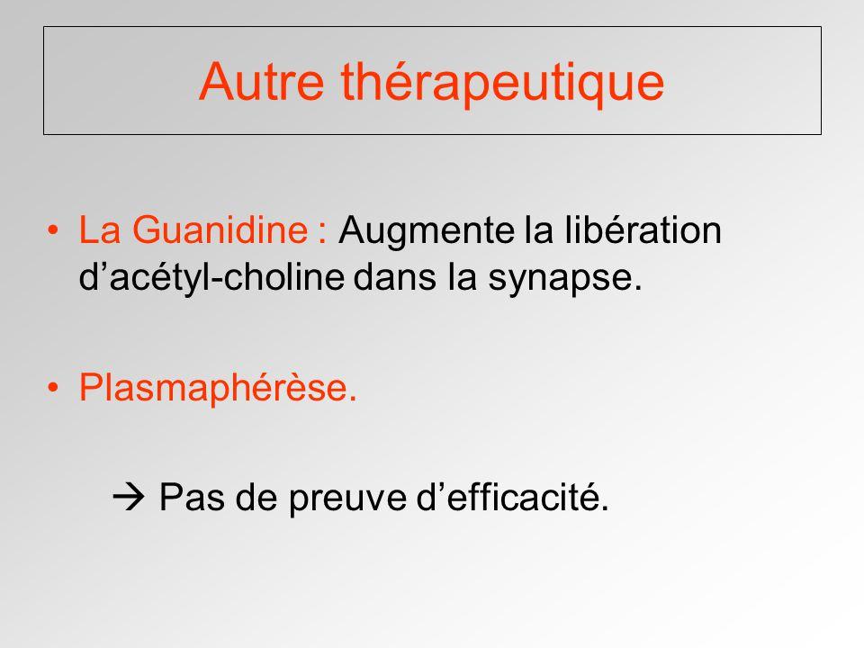 Autre thérapeutique La Guanidine : Augmente la libération dacétyl-choline dans la synapse.