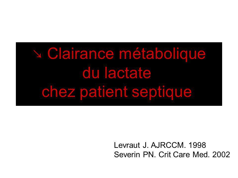 Levraut J. AJRCCM. 1998 Severin PN. Crit Care Med. 2002 Clairance métabolique du lactate chez patient septique