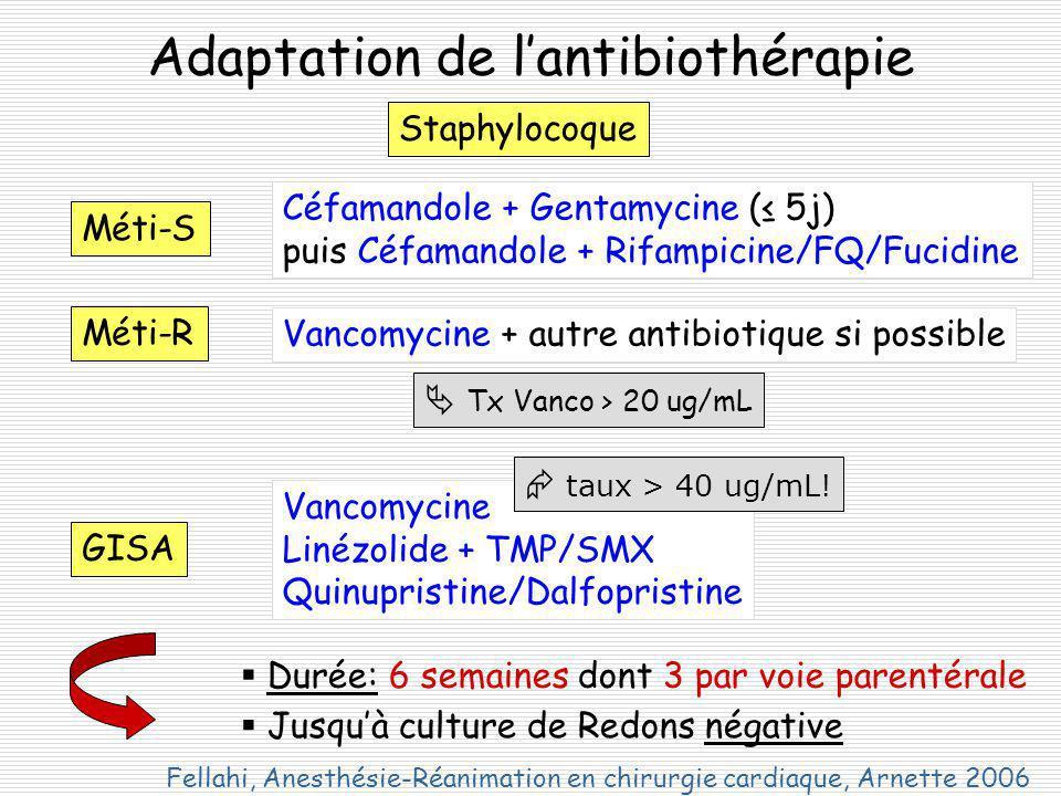 Adaptation de lantibiothérapie Staphylocoque Méti-S Méti-R Céfamandole + Gentamycine ( 5j) puis Céfamandole + Rifampicine/FQ/Fucidine Vancomycine + autre antibiotique si possible Tx Vanco > 20 ug/mL GISA Vancomycine Linézolide + TMP/SMX Quinupristine/Dalfopristine Durée: 6 semaines dont 3 par voie parentérale Jusquà culture de Redons négative taux > 40 ug/mL.