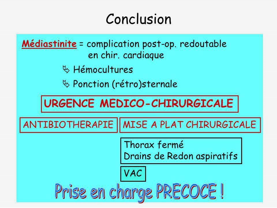 Conclusion Médiastinite = complication post-op.redoutable en chir.