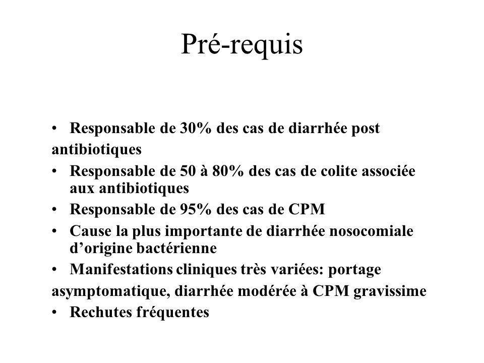Pré-requis Responsable de 30% des cas de diarrhée post antibiotiques Responsable de 50 à 80% des cas de colite associée aux antibiotiques Responsable