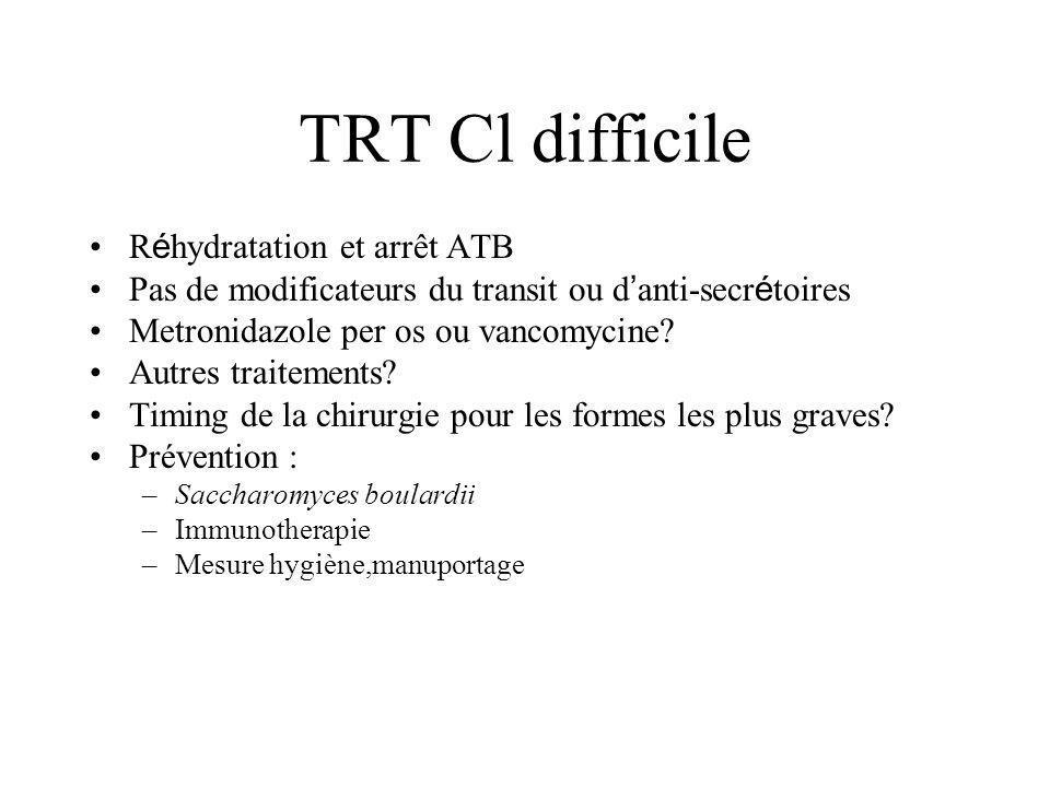 TRT Cl difficile R é hydratation et arrêt ATB Pas de modificateurs du transit ou d anti-secr é toires Metronidazole per os ou vancomycine? Autres trai