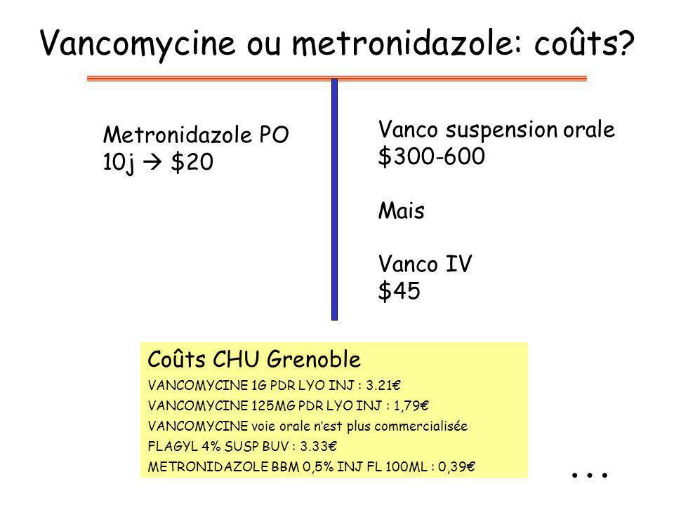 Vancomycine ou metronidazole: coûts? Metronidazole PO 10j $20 Vanco suspension orale $300-600 Mais Vanco IV $45 Coûts CHU Grenoble VANCOMYCINE 1G PDR
