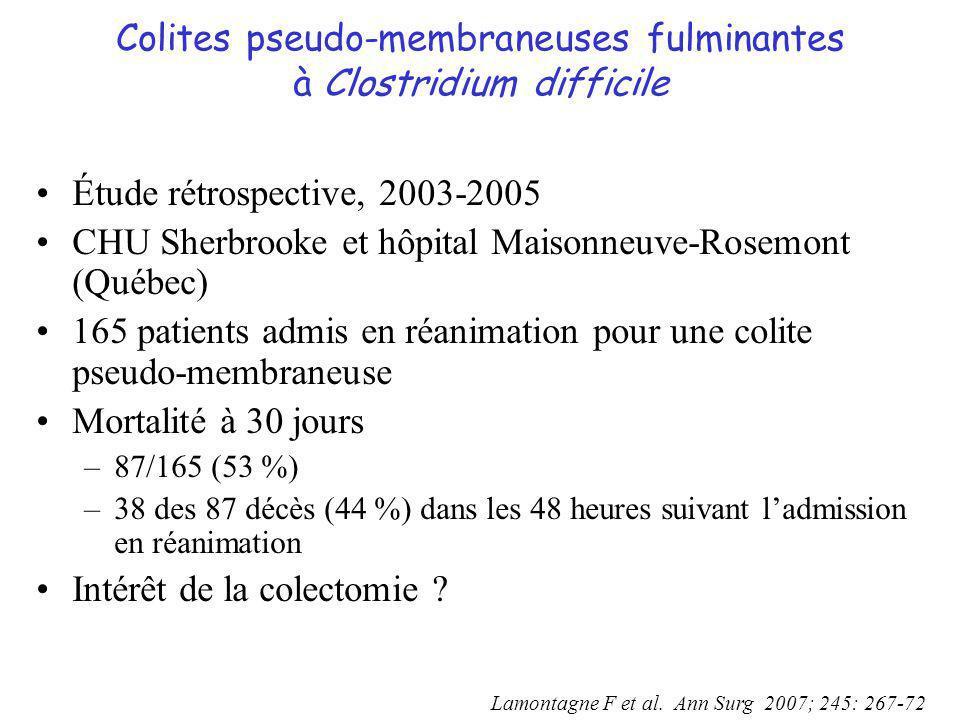 Colites pseudo-membraneuses fulminantes à Clostridium difficile Étude rétrospective, 2003-2005 CHU Sherbrooke et hôpital Maisonneuve-Rosemont (Québec)