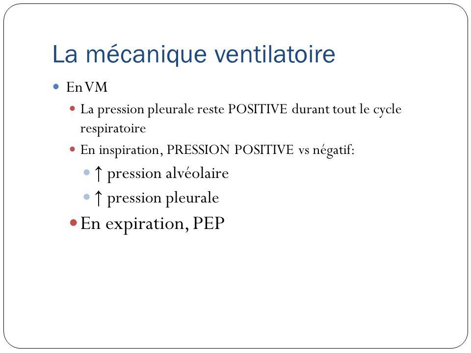 La mécanique ventilatoire En VM La pression pleurale reste POSITIVE durant tout le cycle respiratoire En inspiration, PRESSION POSITIVE vs négatif: pression alvéolaire pression pleurale En expiration, PEP