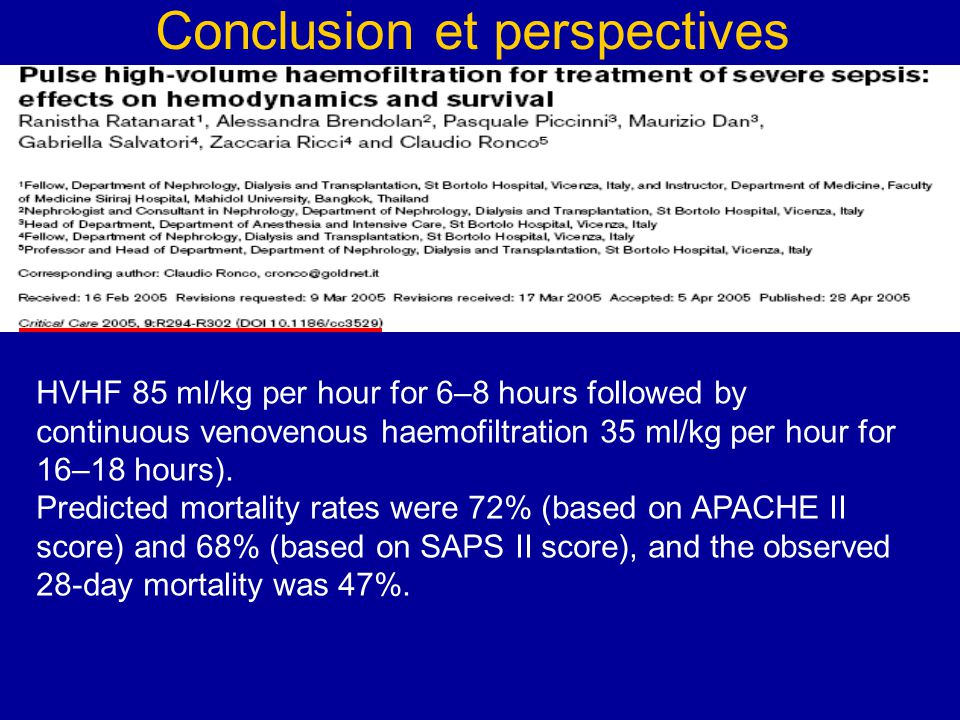 HVHF 85 ml/kg per hour for 6–8 hours followed by continuous venovenous haemofiltration 35 ml/kg per hour for 16–18 hours). Predicted mortality rates w