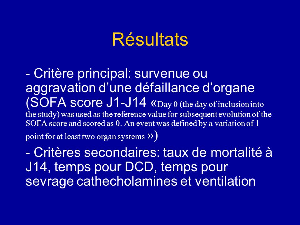 Résultat: objectif principal The HF group elicited a more rapid deterioration than the control group (log-rank test: chi square 8.73; p 0.0266).