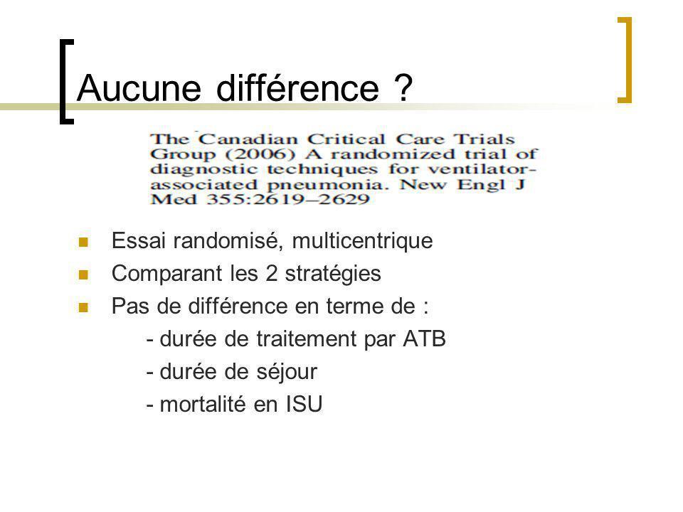 Aucune différence ? Essai randomisé, multicentrique Comparant les 2 stratégies Pas de différence en terme de : - durée de traitement par ATB - durée d