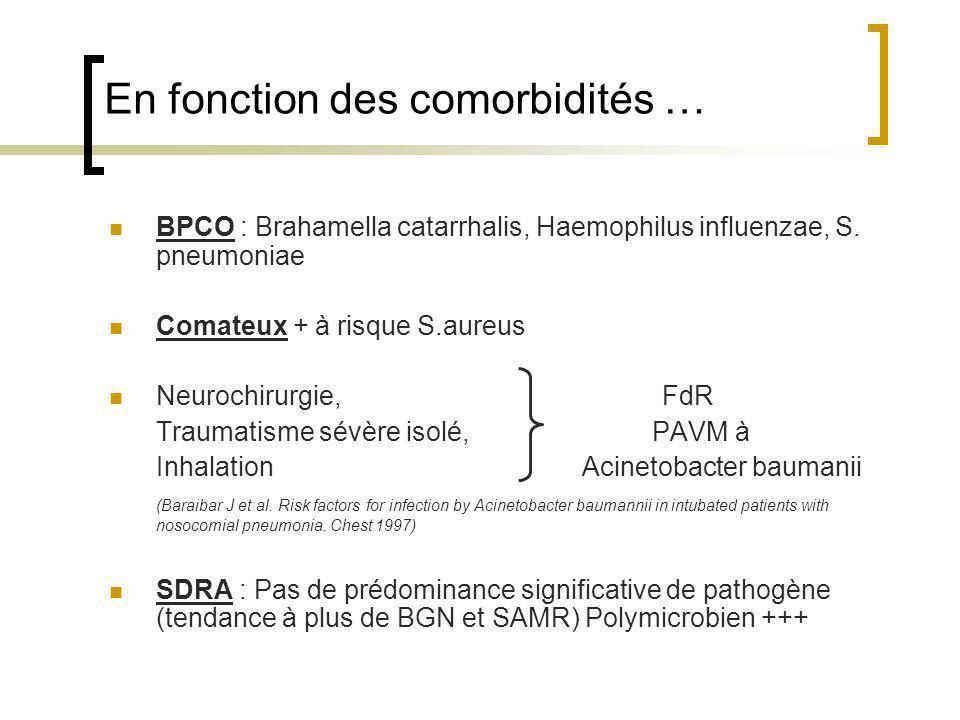 En fonction des comorbidités … BPCO : Brahamella catarrhalis, Haemophilus influenzae, S. pneumoniae Comateux + à risque S.aureus Neurochirurgie, FdR T