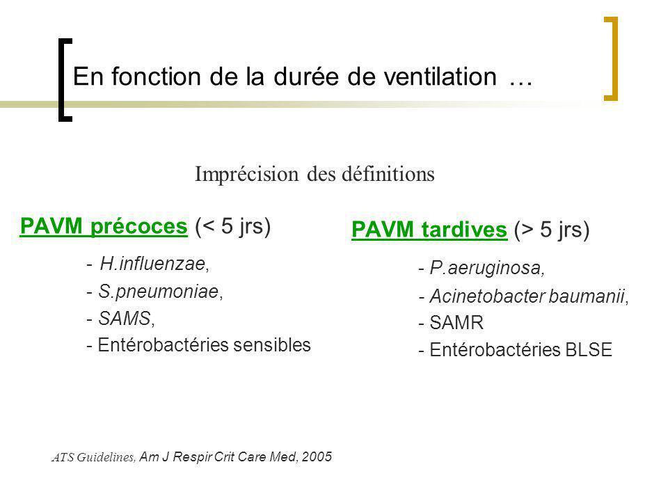 En fonction de la durée de ventilation … PAVM précoces (< 5 jrs) - H.influenzae, - S.pneumoniae, - SAMS, - Entérobactéries sensibles PAVM tardives (>