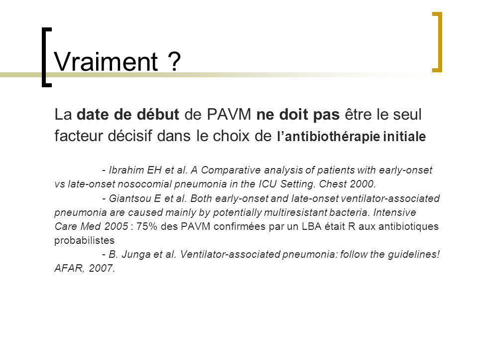 Vraiment ? La date de début de PAVM ne doit pas être le seul facteur décisif dans le choix de lantibiothérapie initiale - Ibrahim EH et al. A Comparat
