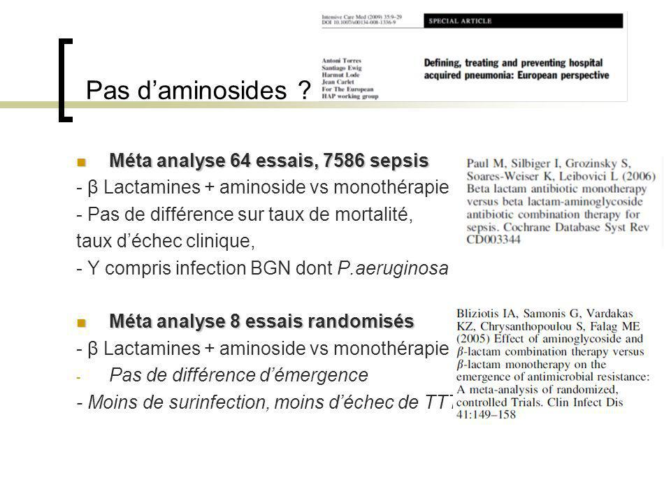 Pas daminosides ? Méta analyse 64 essais, 7586 sepsis Méta analyse 64 essais, 7586 sepsis - β Lactamines + aminoside vs monothérapie - Pas de différen