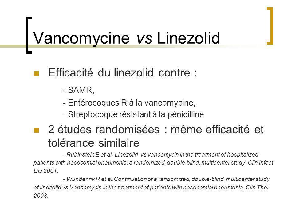 Vancomycine vs Linezolid Efficacité du linezolid contre : - SAMR, - Entérocoques R à la vancomycine, - Streptocoque résistant à la pénicilline 2 étude