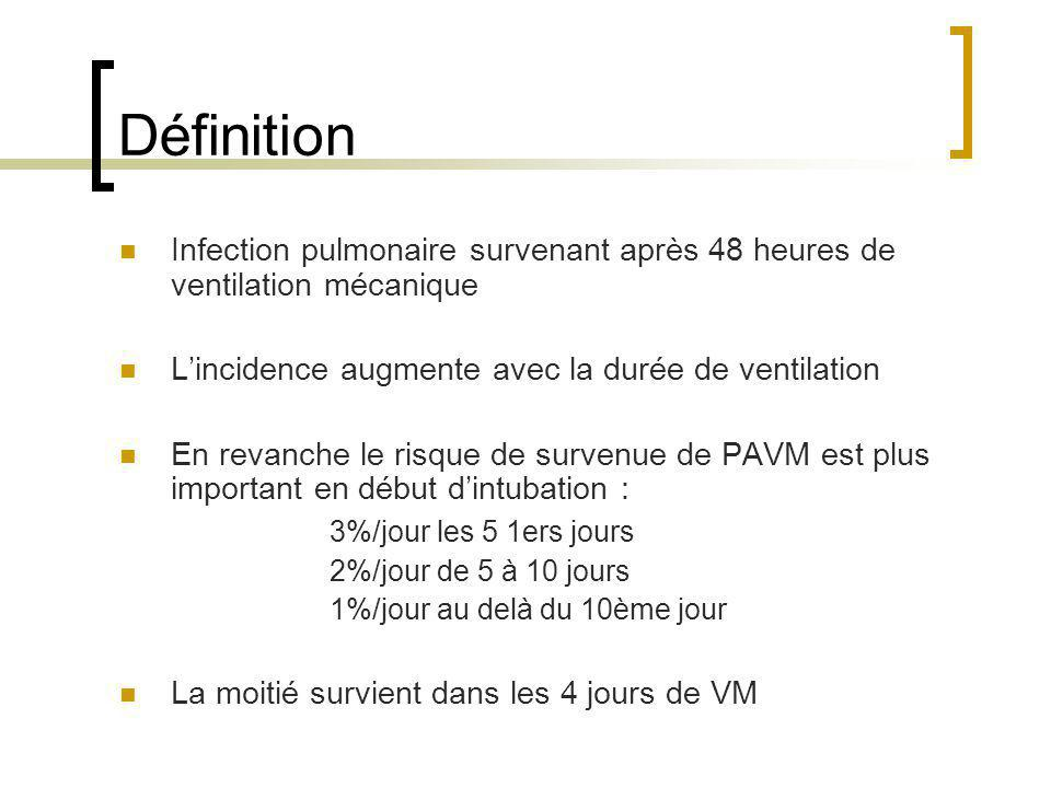 Définition Infection pulmonaire survenant après 48 heures de ventilation mécanique Lincidence augmente avec la durée de ventilation En revanche le ris