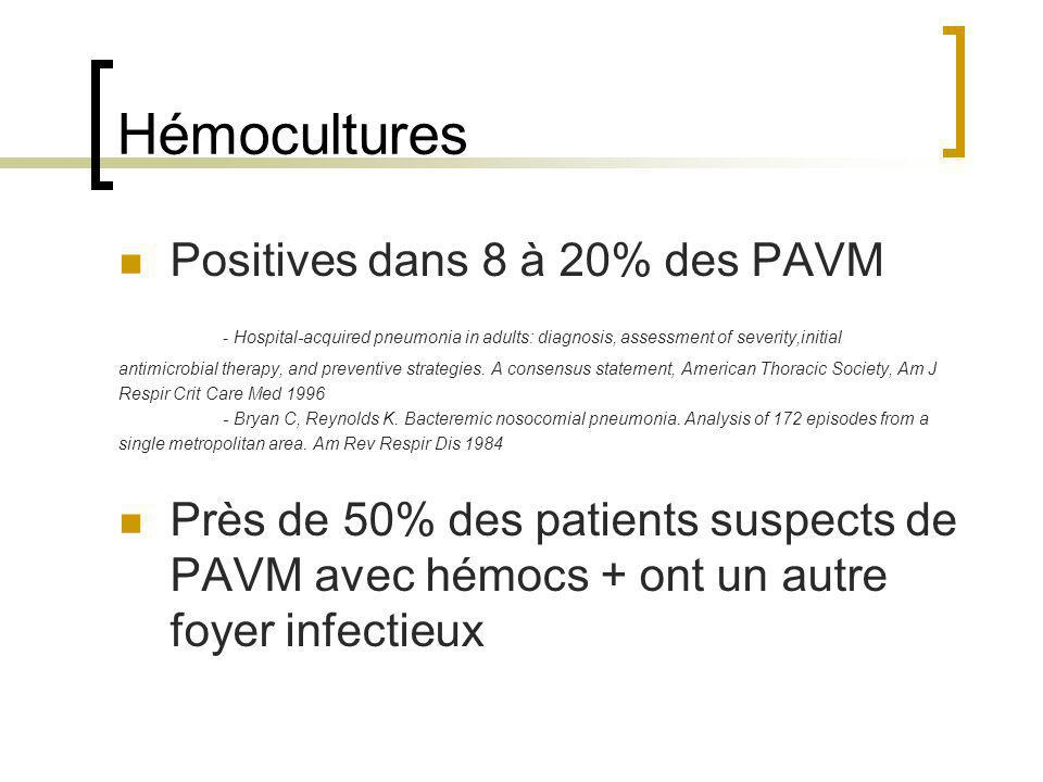 Hémocultures Positives dans 8 à 20% des PAVM - Hospital-acquired pneumonia in adults: diagnosis, assessment of severity,initial antimicrobial therapy,