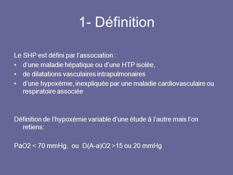 1- Définition Le SHP est défini par lassociation : dune maladie hépatique ou dune HTP isolée, de dilatations vasculaires intrapulmonaires dune hypoxém