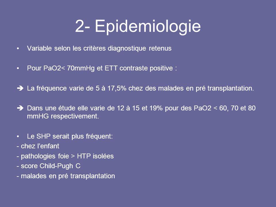 3- La transplantation hépatique Traitement de référence +++ Résolution partielle ou complète observée dans > 70% des cas chez ladulte comme chez lenfant Délai résolution moyen de 4 à 6 mois, plus précocement chez lenfant Délai de résolution et mortalité globale supérieure chez patient avec: - PaO2 initiale < 50mmHg - Shunt isotopique > 20% en pré transplantation Mortalité globale : 30% chez adulte 40% chez enfant (essentiellement péri opératoire, liée à la sévérité du SHP)
