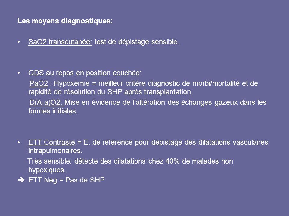Les moyens diagnostiques: SaO2 transcutanée: test de dépistage sensible. GDS au repos en position couchée: PaO2 : Hypoxémie = meilleur critère diagnos