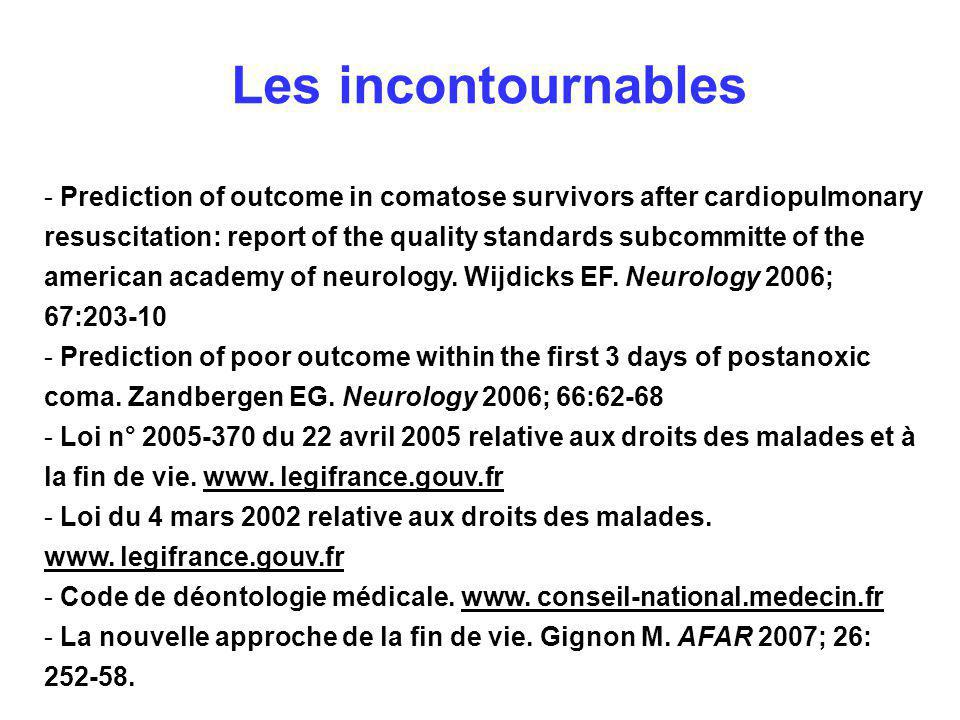 Les incontournables - Prediction of outcome in comatose survivors after cardiopulmonary resuscitation: report of the quality standards subcommitte of