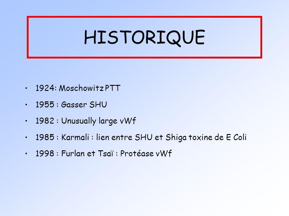 HISTORIQUE 1924: Moschowitz PTT 1955 : Gasser SHU 1982 : Unusually large vWf 1985 : Karmali : lien entre SHU et Shiga toxine de E Coli 1998 : Furlan e