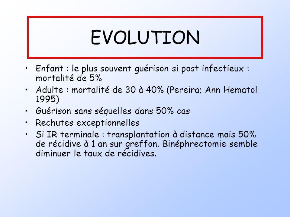 EVOLUTION Enfant : le plus souvent guérison si post infectieux : mortalité de 5% Adulte : mortalité de 30 à 40% (Pereira; Ann Hematol 1995) Guérison s