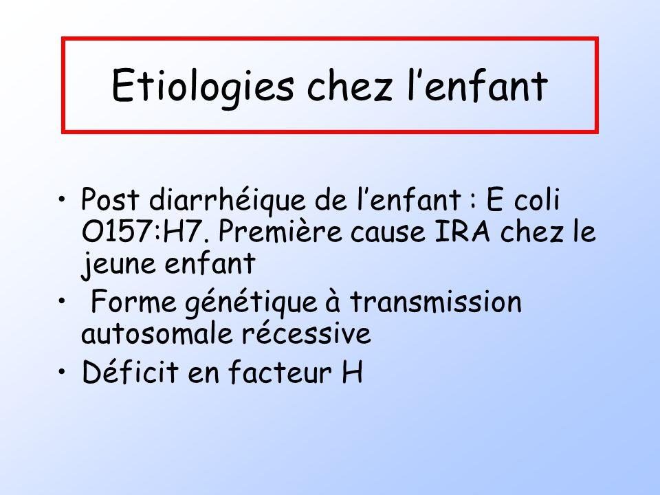 Etiologies chez lenfant Post diarrhéique de lenfant : E coli O157:H7. Première cause IRA chez le jeune enfant Forme génétique à transmission autosomal