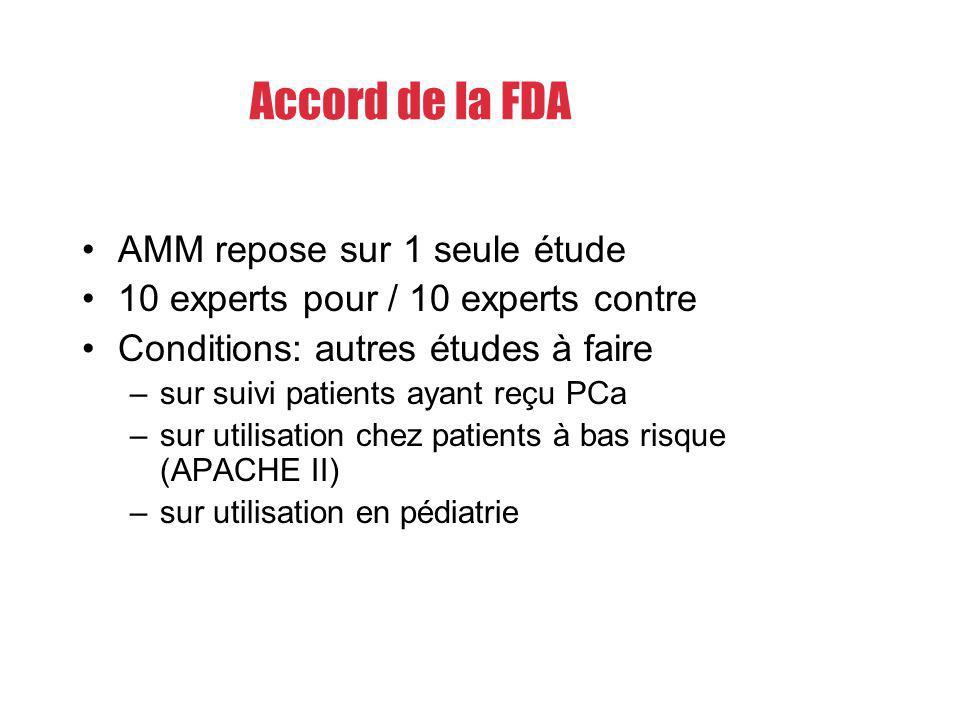 AMM repose sur 1 seule étude 10 experts pour / 10 experts contre Conditions: autres études à faire –sur suivi patients ayant reçu PCa –sur utilisation