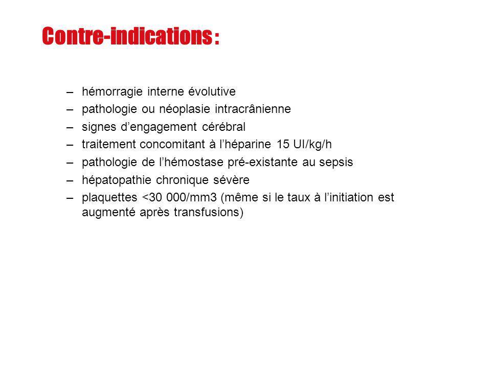 Contre-indications : –hémorragie interne évolutive –pathologie ou néoplasie intracrânienne –signes dengagement cérébral –traitement concomitant à lhép