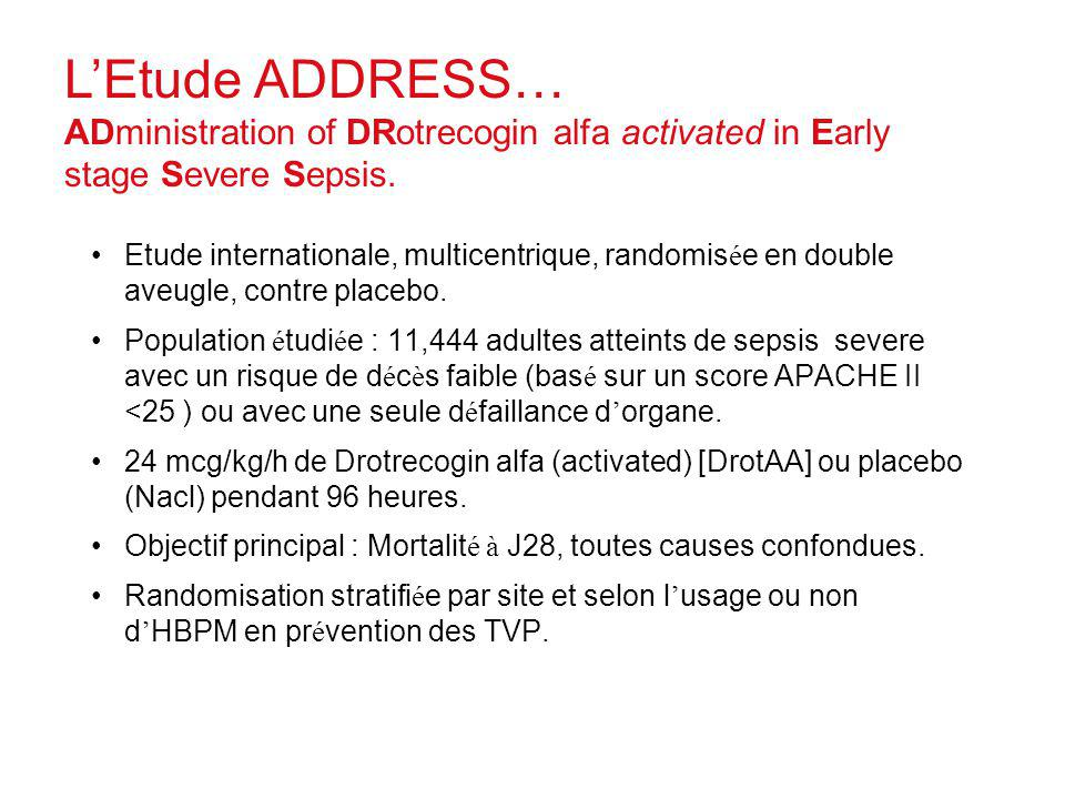 LEtude ADDRESS… ADministration of DRotrecogin alfa activated in Early stage Severe Sepsis. Etude internationale, multicentrique, randomis é e en doubl
