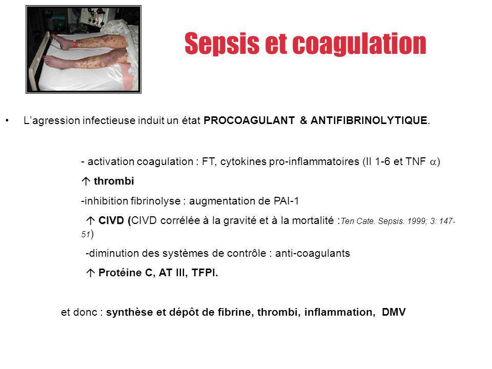 Activation de la coagulation par activation du Facteur tissulaire Inhibition des systèmes anticoagulants naturels Fibrinolyse inefficace.
