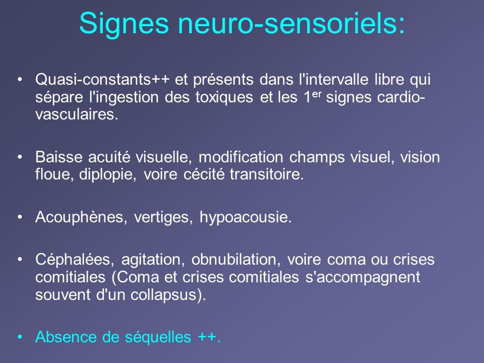 Signes neuro-sensoriels: Quasi-constants++ et présents dans l'intervalle libre qui sépare l'ingestion des toxiques et les 1 er signes cardio- vasculai