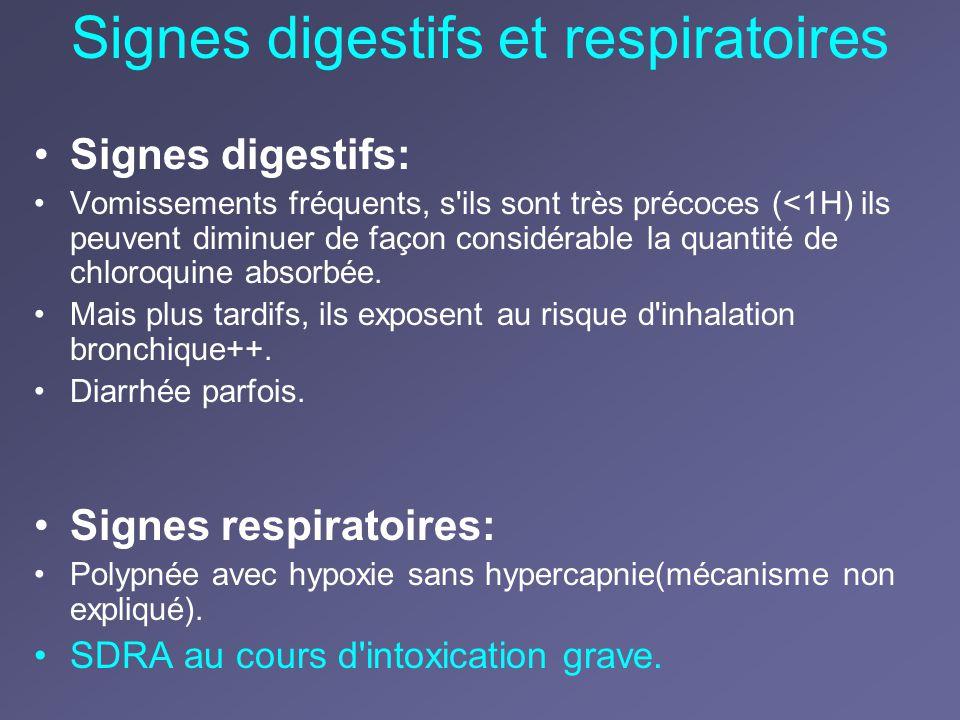 Signes digestifs et respiratoires Signes digestifs: Vomissements fréquents, s'ils sont très précoces (<1H) ils peuvent diminuer de façon considérable