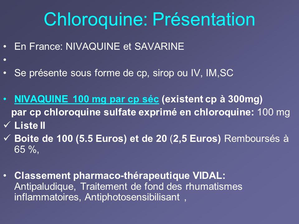 Chloroquine: Présentation En France: NIVAQUINE et SAVARINE Se présente sous forme de cp, sirop ou IV, IM,SC NIVAQUINE 100 mg par cp séc (existent cp à