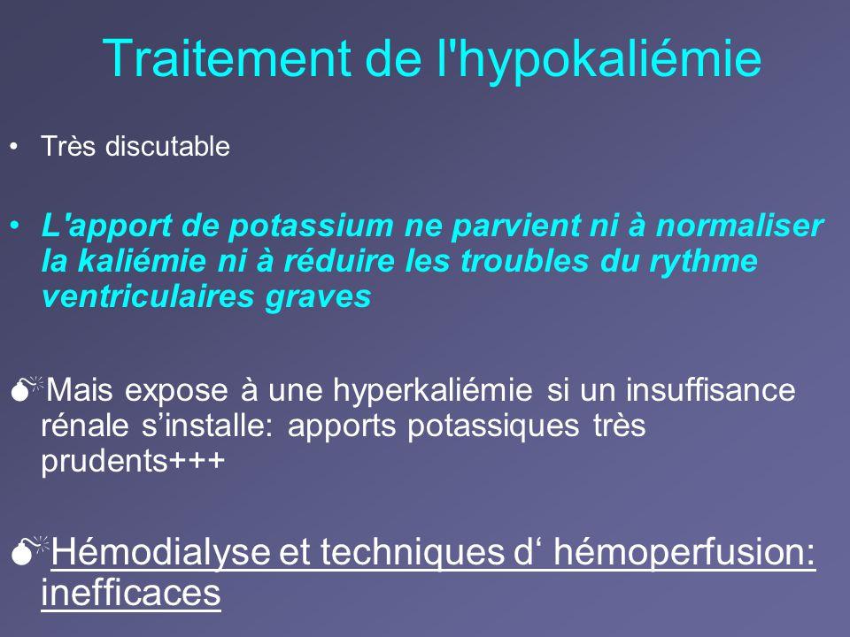 Traitement de l'hypokaliémie Très discutable L'apport de potassium ne parvient ni à normaliser la kaliémie ni à réduire les troubles du rythme ventric