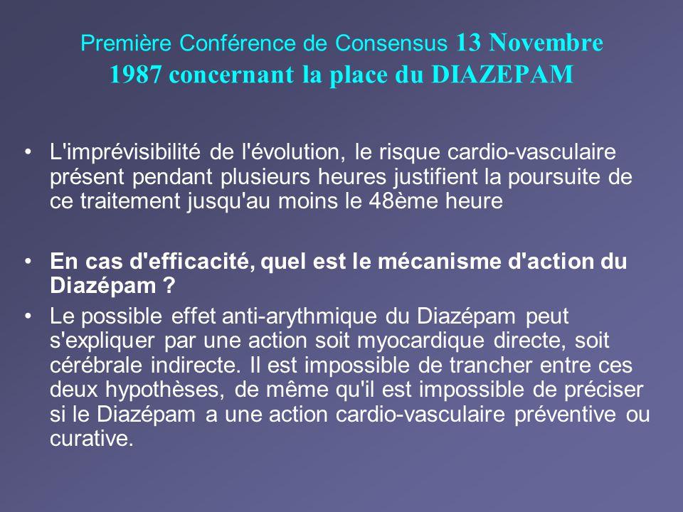 Première Conférence de Consensus 13 Novembre 1987 concernant la place du DIAZEPAM L'imprévisibilité de l'évolution, le risque cardio-vasculaire présen