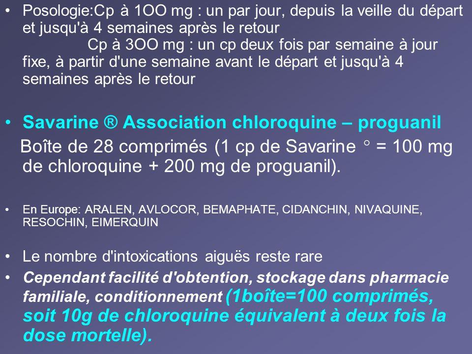 Posologie:Cp à 1OO mg : un par jour, depuis la veille du départ et jusqu'à 4 semaines après le retour Cp à 3OO mg : un cp deux fois par semaine à jour