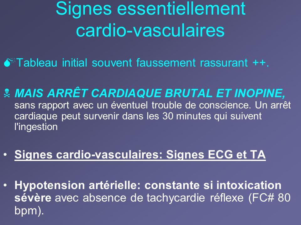 Signes essentiellement cardio-vasculaires Tableau initial souvent faussement rassurant ++. MAIS ARRÊT CARDIAQUE BRUTAL ET INOPINE, sans rapport avec u
