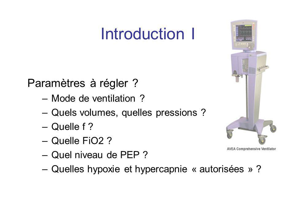 Introduction I Paramètres à régler ? –Mode de ventilation ? –Quels volumes, quelles pressions ? –Quelle f ? –Quelle FiO2 ? –Quel niveau de PEP ? –Quel