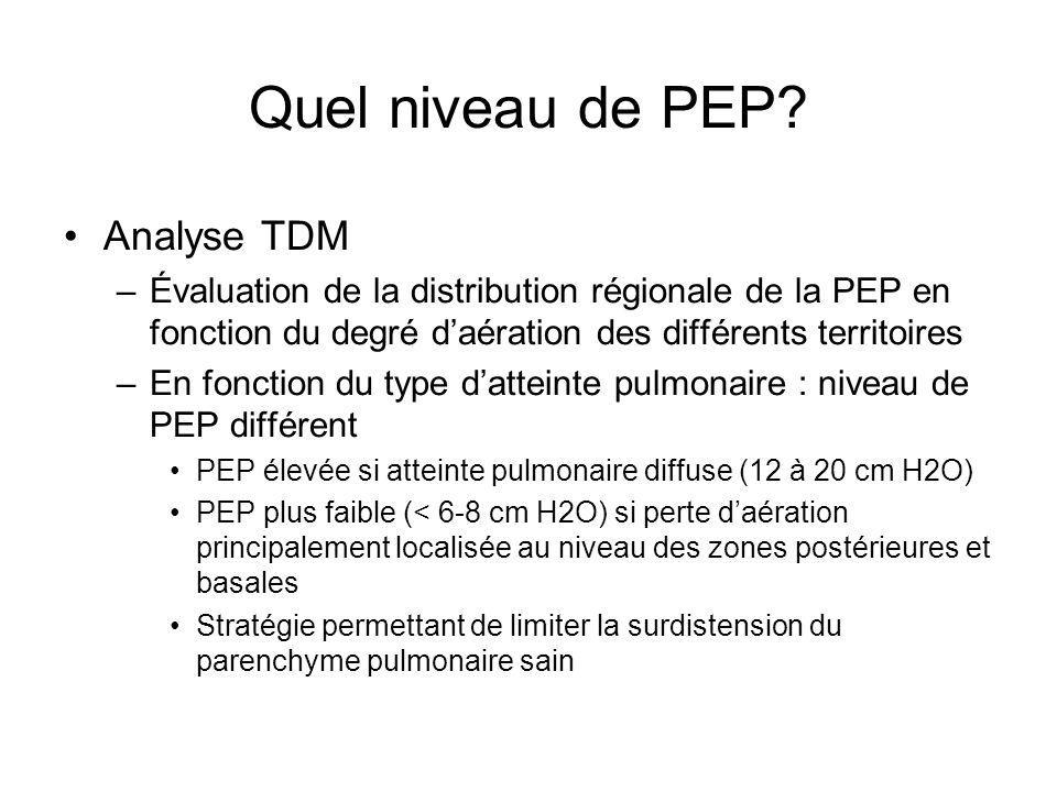 Quel niveau de PEP? Analyse TDM –Évaluation de la distribution régionale de la PEP en fonction du degré daération des différents territoires –En fonct
