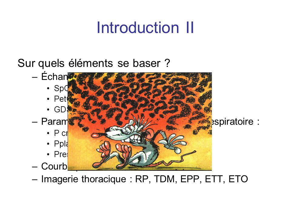 Introduction II Sur quels éléments se baser ? –Échanges gazeux : SpO2 PetCO2 GDS –Paramètres classiques de mécanique respiratoire : P crête Pplat Pres